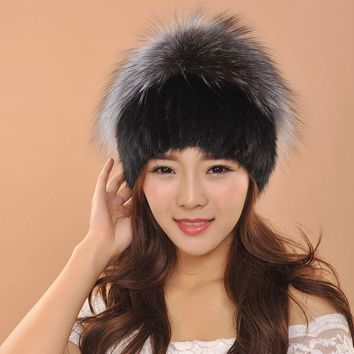 VONESC6 Elegant Quality Mink Fur Hat Women Fur Winter Hats With Ball Knitted Mink Fur Hat With Fur Ball Decoration skullies beanies