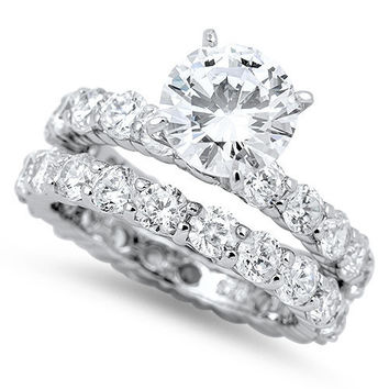 A Perfect 2CT Round Cut Solitaire Russian Lab Diamond Bridal Set Wedding Band Rings