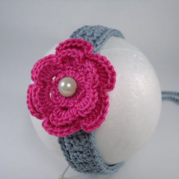 Crochet headband, baby custom headband, fashion baby, baby accessories, fashion girls with flower application - For teens to adult