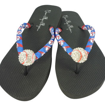 Flip Flops with Texas Ranger Ribbon & Baseball Bling Rhinestone