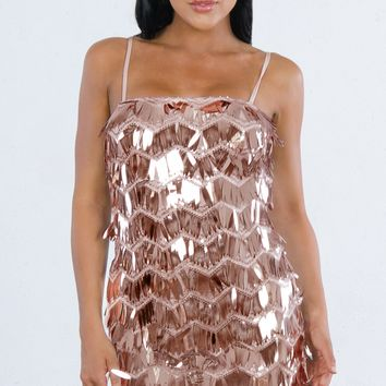 Indie XO Skip The Line Copper Zig Zag Sequin Sleeveless Spaghetti Strap Square Neck Bodycon Mini Dress - 3 Colors Available