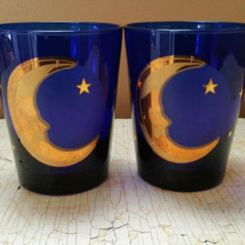 Culver Celestial Moon Highball Glass Pair Cobalt Blue Cocktail Glass Pair
