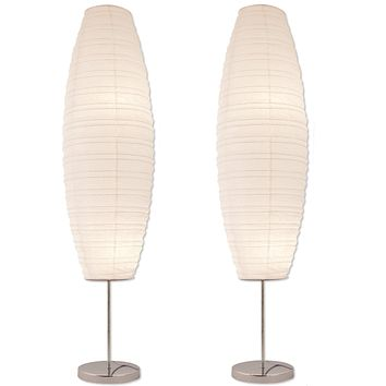 Chrome Floor Lamp Set with Paper Shades (Set of 2)