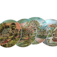 Currier and Ives, Four Seasons Plate, Currier Ives Plates, Ives Spring Plate, Currier Summer Plate, Ives, Autumn Plate, Porcelain Winter