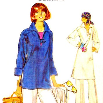 Very Easy Top Tunic Pants Pullover Tops Tunics Vintage Vogue Pattern 9437 Drop Extended Shoulders 70s Sewing Patterns Size 16 Bust 38 Uncut