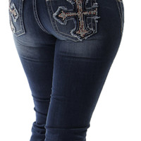 Miss Me Bling Cross Denim Capris