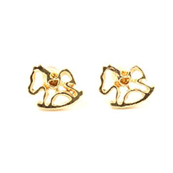 Rocking Horse Stud Earrings Gold Tone Toy Pony Posts EH20 Fashion Jewelry