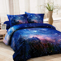 Blue galaxy bedding set blue galaxy duvet cover galaxy bed sheet and two matching pillowcases