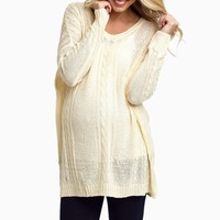 Ivory-Cable-Knit-Oversized-Maternity-Sweater