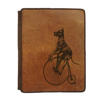 Ipad 2 Leather Book Cover Case  Dane on Bike by joevleather