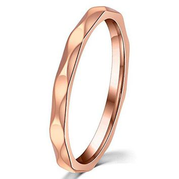 Womens 2mm Wave Prismatic Pattern Rose Gold Ring Engagement Wedding Lady Finger Thin Stainless Steel Band