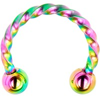 "16 Gauge 5/16"" Rainbow IP Seriously Twisted Horseshoe Curved Barbell"