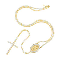 Mens Gold Finish Tennis Link Rosary Chain