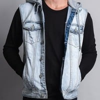Detachable Hood Denim Vest