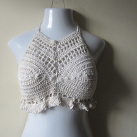 CROCHET CROPPED TOP, festival clothing, beachwear, summer top, cropped top, crochet halter top,  gypsy Cotton  blend