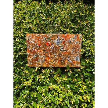 Orange Confetti Acrylic Box Clutch