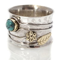 Handmade Turquoise Or Ruby Flower Silver Ring