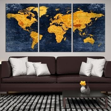 57548 - Geographic World Map Canvas Print, Detailed World Map Wall Art Print, Framed, Ready to Hang, Vintage Futuristic World Map Wall Art