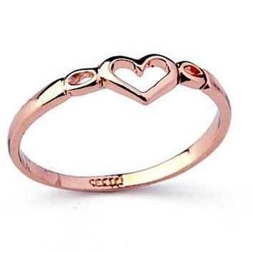 Ritzy Genuine Austrian Crystal Love Heart Shape Ring-Gold/Platinum