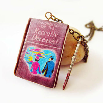 "Tim Burton Miniature Book Necklace- Key chain- phone charm- ""Handbook for the Recently deceased"" From  ""BeetleJuice"" Gothic Jewelry"