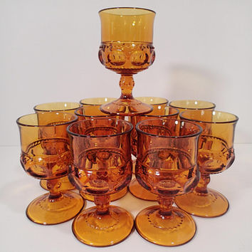 Kings Crown Thumbprint Amber Cordial glasses, set of 9, Vintage Indiana Glass footed glassware