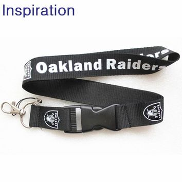 Oakland Raiders Football Lanyard Neck Strap Keyring For ID Pass Card Badge Gym Key Mobile Phone USB Holder Lanyard Necklace