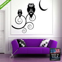 Wall Decal Mural Sticker Beautyfull Cute Owl Animals Bedroom (z139)