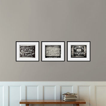 Kitchen Decor Set Of 3 Rustic Prints Kitchen Art Set Of 3 Black And