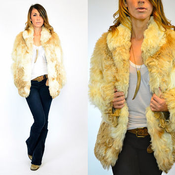 multicolored BOHEMIAN shaggy MONGOLIAN curly lamb fur COAT jacket, extra small-small