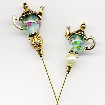 """Roses under Glass"" Gold Teapot Hatpins Pair"