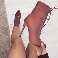 LALA IKAI Newest Women Ankle Boots 10cm Thin Heels High Heel Lace-Up Ankle Boots Fashion Rubble Boots N1445