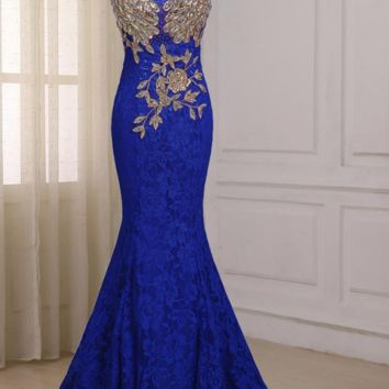 Royal Blue Mermaid Evening Dress Cap Sleeve Floor Length Long Formal Party Prom Dresses