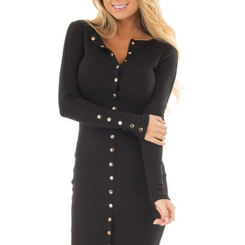 Black Ribbed Knit Bodycon Dress with Gold Details