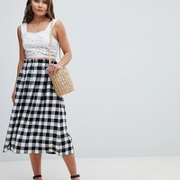 ASOS DESIGN tailored linen prom skirt in check at asos.com