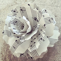 One dozen music sheet paper flower carnations.  2.5 - 3 inches in diameter.