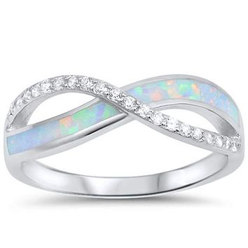 White Lab Opal Infinity Sterling Silver Ring Size 4-12
