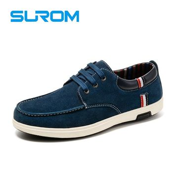 Men's Suede Casual Shoes Man Business Shoes Chamois Leather Lace up Men Flat Oxford Shoe Luxury Boat Shoes