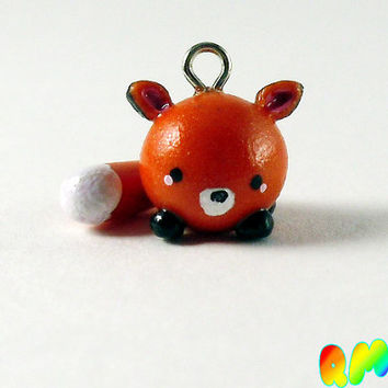 Kawaii Handmade Polymer Clay - Mini Chibi Fox Charm - Miniature - Fox - Kitsune
