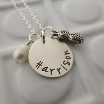 My Little Peanut - - Handstamped Sterling Silver Necklace - - Personalized Mommy Jewelry