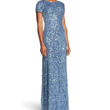 Adrianna Papell Short-Sleeve Sequined Long Skirt Gown | Dillards