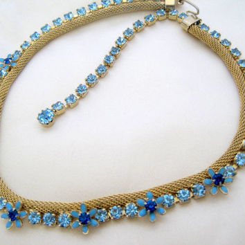 Vintage Blue Rhinestone Enamel Flower Gold Mesh Necklace