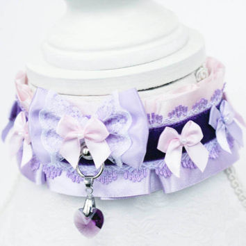 Two Tone Pink and Lilac Collar - Luxury Lacey O ring Durable BDSM Ddlg Pet Kitten Puppy Slave Submissive Play Collar