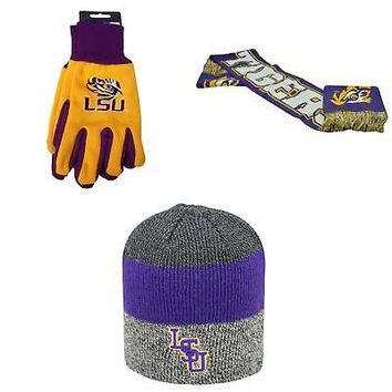 Licensed NCAA LSU Tigers Spirit Scarf Grip Work Glove And Sunset Beanie Hat 3Pk 94195 KO_19_1