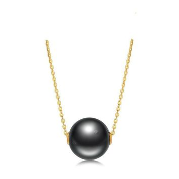Black Pearl Pendant 11-11.5Mm Tahitian Pearl & 18K Yellow Gold Chain Necklace Brand Jewelry