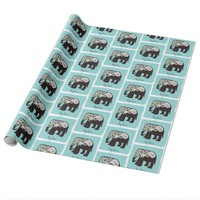 Elephant Big Love Cute Modern Turquoise Pattern Wrapping Paper