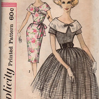 Simplicity 1960s Sewing Pattern Swing Rockabilly Style Party Tea Dress Slim Fit Flared Skirt Wide Sailor Collar Uncut FF Bust 36