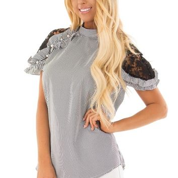 Black Striped Top with Lace Sleeves and Pearl Detail