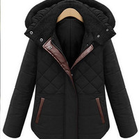 fashion women's warm winter jacket Slim hooded coat big yards