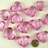 Heart Beads 12 acrylic ROSE PINK faceted HEART pendants or charms