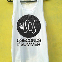 5 Second of Summer Black Text Tank Top, Tank Top Girls, Girls Tank Top, Mens Tank Top, Womens Tank Top, Black Tank Top, White tank Top